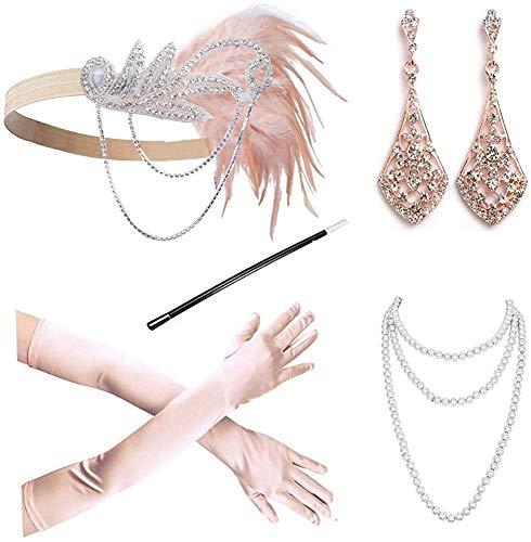 DRESHOW Damen 1920er Accessoires Set Flapper Kostüm Gatsby Feder Lange Halskette Handschuhe Zigarettenhalter Stirnband Funkelnde Ohrringe