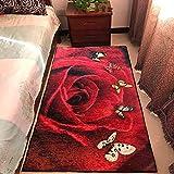 Alfombra de terciopelo con estampado de flores de lujo, color dorado, para sala de estar, mesa de café, personalizada, lavable a máquina (tamaño: 160 x 200 cm, color: color 01)