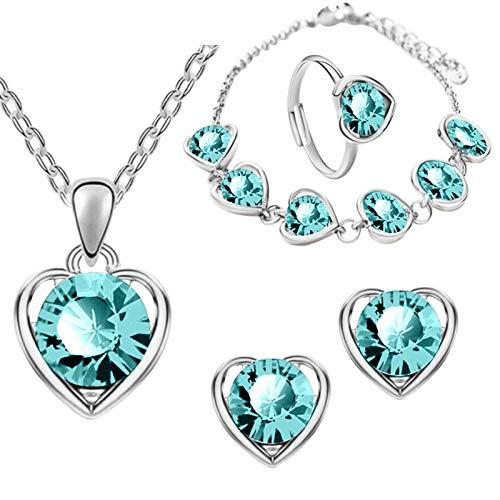 SDCAJA Valentine's Day Jewelry Necklace Romantic Love Diamond Necklace Explosive Heart Shaped Gemstone Jewelry Set Gift(8PCS)