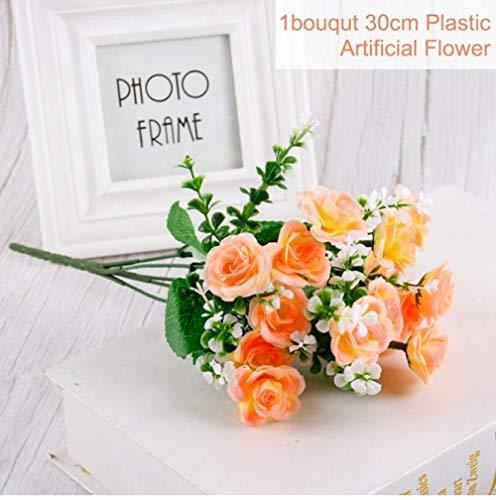 XCVB 30 cmRoos 1 Boeket 15 BloemhoofdKunstzijde Bloemtakken NepbloemenKunstbloemen Voor Decor Bruiloft, Oranje