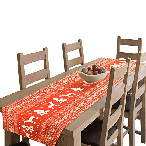 """Amsper Christmas Table Runner, Machine Washable Printed Fabric Table Lines Decoration with Christmas Reindeer and Tree for Holiday Season Home Table Decor (Orange-Red, 14""""x120"""")"""