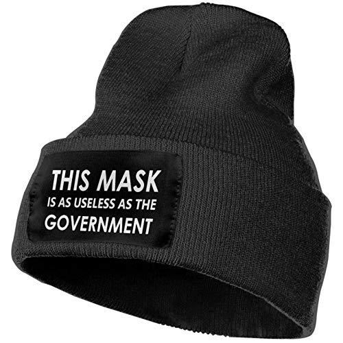 SOUL-RAY Esta máscara es tan inútil como el gobierno tema negro invierno al aire libre e interior Ocio trabajo invierno cálido sombrero de lana, regalo para hombres.