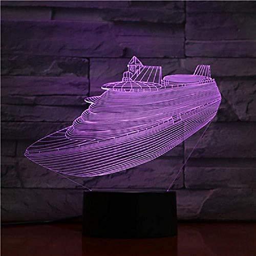 3D-Licht Kreuzfahrtschiff Kinder Kurier Beste Auszeichnung Helle Wohnzimmer Dekoration Basis Led Nachtlicht Lampe Hologramm-Bluetooth Control