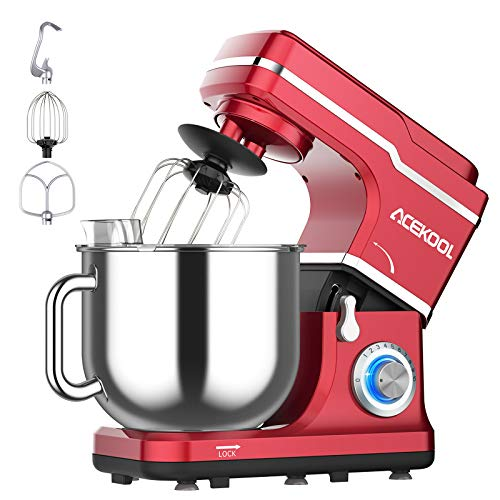 Stand Mixer, 10-Speed 7.5QT Electric Mixer Kitchen Dough Mixer Food Mixer for Baking&Cake, with Stainless Steel Bowl, Whisk, Dough Hook, Beater, Splash Guard (660W)RED