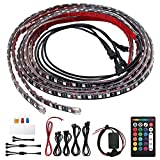 Justech Tiras LED Coche, 4PCs 12V Tiras de Luces LED para Coche 2 x 120cm + 2 x 90cm Impermeable IP68 con RF Control Remoto de 16 RGB Multi-Colores con Cables de Extensión y Sensor de Música