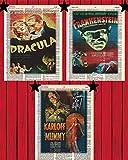 Vintage Horror-Film-Poster Set mit 3 Dracula Frankenstein