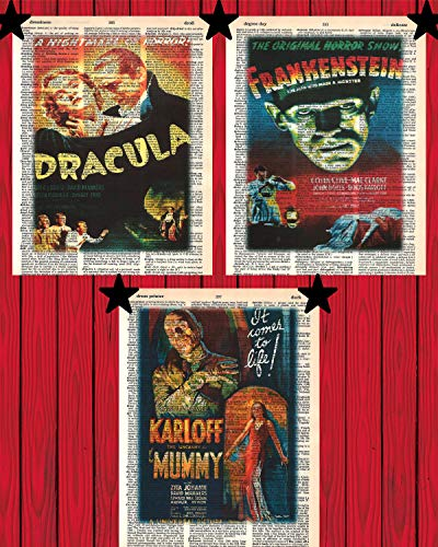 Vintage Horror Movie Posters Set of (3) Dracula Frankenstein The Mummy Prints Scary Horror Movie Monster Dictionary Art Prints 8x10