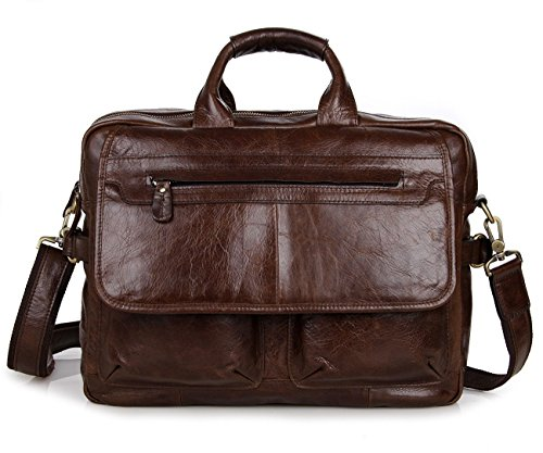 YAAGLE Mens Genuine Real Buffalo Leather Briefcase Business File Organizer Portable Cross-Body Shoulder Bag Top-Handle Handbag Backpack 17-inch Laptop Case Coffee