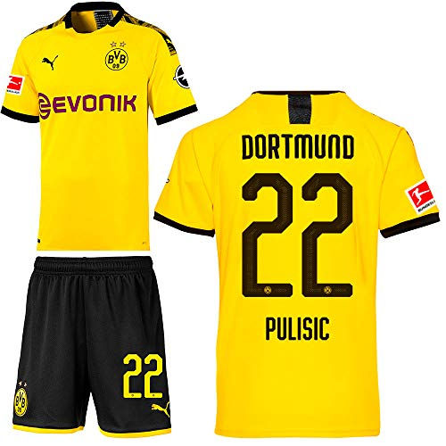 PUMA Borussia Dortmund BVB Heimset 2019 2020 Home Kit Trikot Shorts Herren Christian Pulisic 22 Gr L