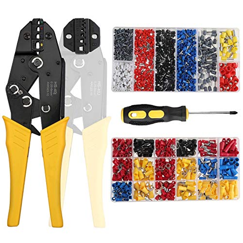 Crimp Tool Kit,CrimpingTool with Connectors, Wire Crimper...