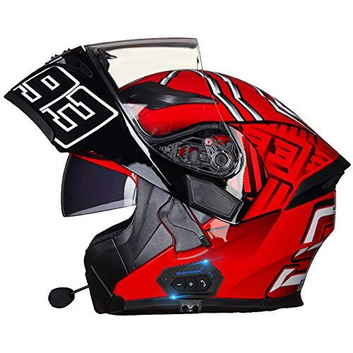 Bluetooth Integrado Casco Moto Modular con Doble Visera Casco Motocicleta a Prueba de Viento Para Adultos Hombres Mujeres Casco Moto Integral Para Motocicleta Homologado ECE C,M=57~58cm