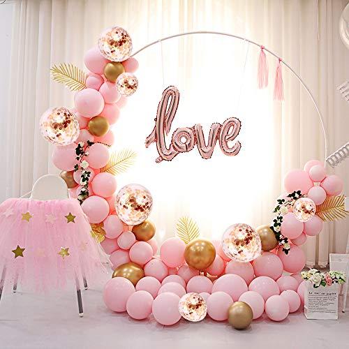 Palloncini Compleanno Arco Rosa Oro Foil Love 5M 117PCS Matrimonio Ghirlanda Decorazioni Rosa Palloncini Oro con Coriandoli Metallico Palloncini per Matrimonio Compleanno Laurea Party Decorazioni