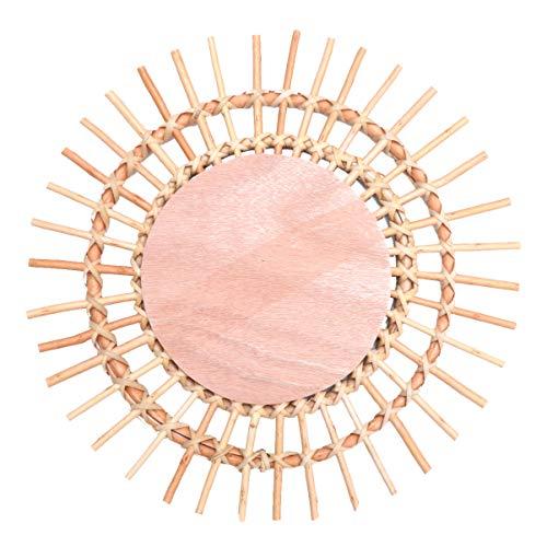 IMIKEYA Rotan Sunburst Spiegel Rieten Geweven Spiegel Wand Decor Innovatieve Kunst Decoratie Fotografie Rekwisieten Voor Woonkamer Kantoor 40X40cm