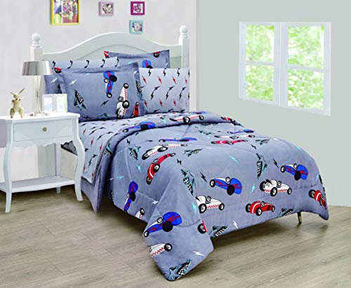 Sapphire Home 7pc Full Size Comforter Bedding Set Bed in Bag for Toddler Kids Children Boys Girls w/Shams and Sheet Set, Multicolor Bed Cover with Fun Kids Prints, Full 7pc Racecar Gray