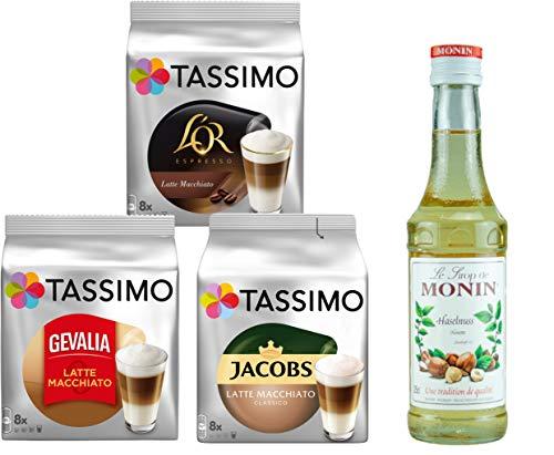 Tassimo® meets Monin® | Set 06 | Latte Macchiato | Sirup | Jacobs | Gevalia | L'OR | 3 verschiedene Tassimo Sorten & 1 Flasche Monin Haselnuss Sirup 250ml