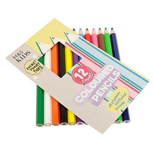 M&S, 12 matite colorate grandi e divertenti per bambini, matite grosse, di alta qualità