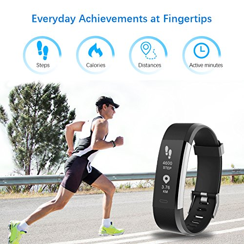 LETSCOM Fitness Tracker HR, Activity Tracker Watch with Heart Rate Monitor, IP67 Smart Bracelet with Step Counter, Calorie Counter, Pedometer Watch for Kids Women and Men 6