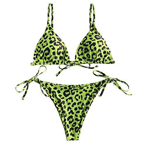 ZAFUL Women's Criss-Cross Tie Dye Cinched String Triangle Bikini Set Ribbed Floral Leaf Print Three Piece Swimsuit (Medium, Green Apple-2 Pieces)