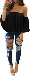 Women Long Sleeve T Shirt Off Shoulder Pullover Casual Blouse