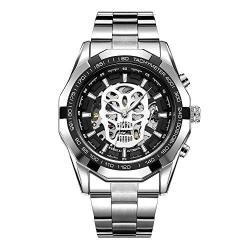 Reloj automático de Cuerda automática para Hombre Elegante Calendario mecánico Informal Acero Inoxidable Band-A