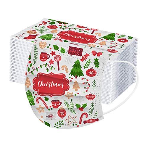 JMNy Erwachsene Mundschutz Multifunktionstuch, Einweg 3-lagig Weihnachtsfeiertagsbeleuchtung Dekoration Gedruckt Maske, Staubdicht Atmungsaktive Vlies Mund-Nasenschutz Bandana Halstuch