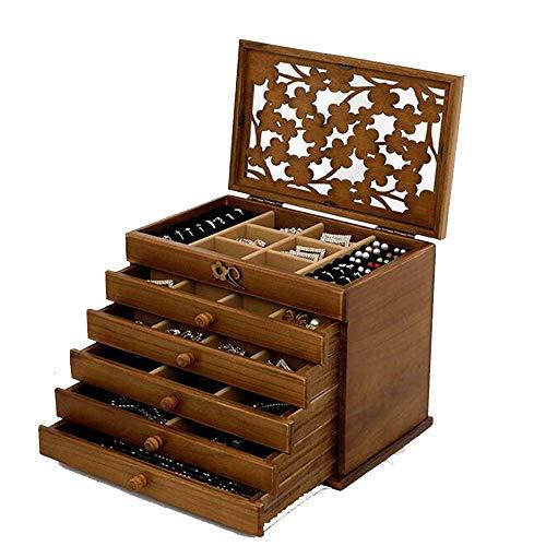 YUACY Joyero de madera Caja de joyería de almacenamiento tipo cajón de franela multicapa Joyero para mujer