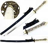 Ivory Dragon Handmade Samurai Sword Katana 1045 Carbon Steel Blade. for Collection, Gift, Straw Mat Cutting Practice (Blue)