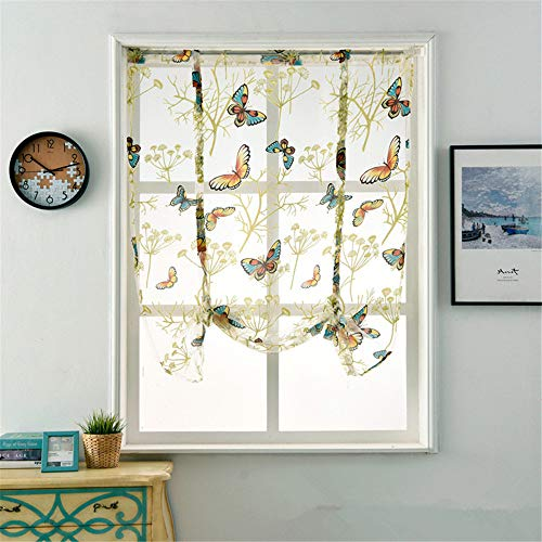 WPKIRA Short Curtain Colorful Butterfly Rod Pocket Top Roman Curtain Vertical Curtain Cafe Curtain Window Panels Door Voile Tulle Sheer Kitchen Curtains, 1 Panel W31X L39 inch