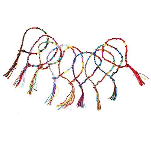 Pixnor Fußkettchen, Hippie-Stil, bunt, geflochten, 9 Stück (zufällige Farbe)