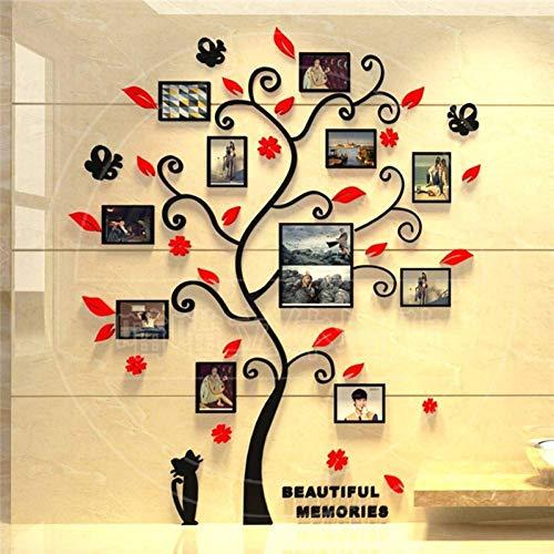 ZXL 3D boom stickers acryl fotoalbum voor muurstickers boom vorm decoratie stickers wooncultuur muur poster, donkergroen