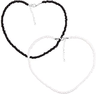 2Pcs Seed Beads Choker Boho Choker Necklace Jewelry for Women and Girls White Black