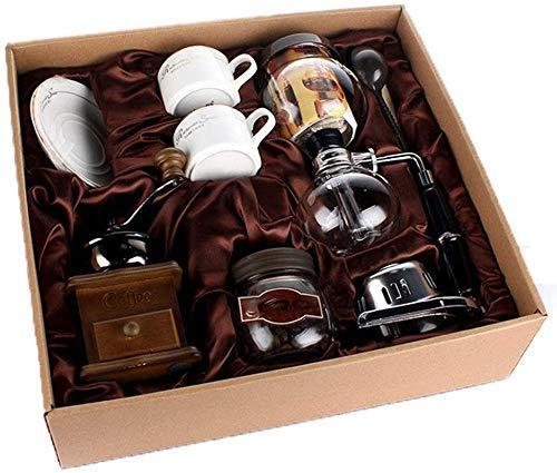 YAeele Acero clásica de Madera Manual Molinillo de café Manual de Acero del café Retro Especias Mini Burr Molino de cerámica Paquete de Regalo con un sifón Pot Herramientas de Cocina