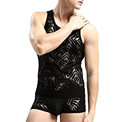 Men's transparent boxers and vest set