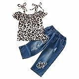 KEXIJIA Conjunto de ropa de verano para niños, 2 piezas, con diseño de leopardo, blusa y pantalones vaqueros largos, ropa para bebé, niña, leopardo, 4-5 Años