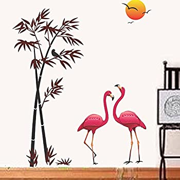Decals Design 'Flamingos and Bamboo at Sunset' Wall Sticker (PVC Vinyl, 90 cm x 60 cm, Multicolour)