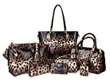 Hoxis Pack of 7 Bags Women Multi-purpose Classic Design Patent Purse Leatherette Shoulder Handbag(Leopard Print)