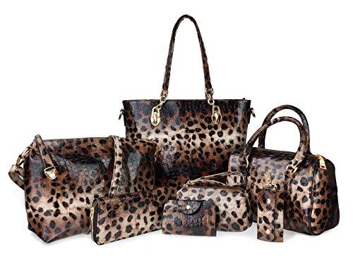 Hoxis Pack of 7 Bags Women Multi-purpose Classic Design Purse Leatherette Shoulder Handbag(Leopard Print)