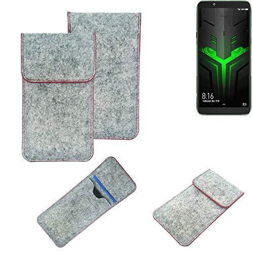 K-S-Trade Handy Schutz Hülle Für Xiaomi Blackshark Helo Schutzhülle Handyhülle Filztasche Pouch Tasche Hülle Sleeve Filzhülle Hellgrau Roter Rand