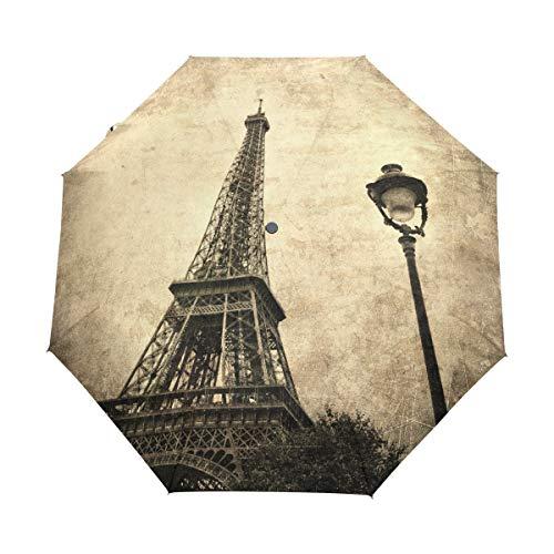 DEZIRO Intage Afbeelding Van Eiffeltoren Parijs Frankrijk Drie Vouw Outdoor?Paraplu?Auto open Waterdicht