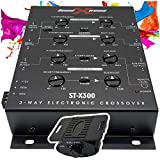 SoundXtreme ST-X300 3 Way Electronic Car Stereo Crossover Dash Mount Bass Knob Remote Frequency Response 10Hz-30kHz Including Power Adapter Connector 60dB Separation