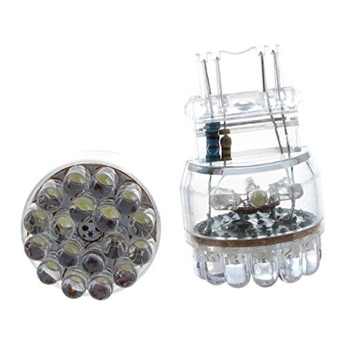 RETYLY 2 x Bombilla Lampara Trasera Freno para Coche T25 3157 3057 W21/5W Blanco 24 SMD LED 12V
