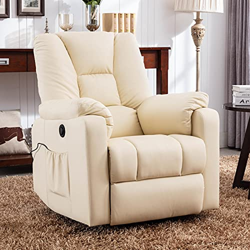 Grsolul Power Lift Chair Electric Recliner for Elderly, PU Leather Recliners Ergonomic Lounge Chairs Classic Single Sofa with Heated Vibration Massage, Side Pocket for Living Room/Home Theater(White)