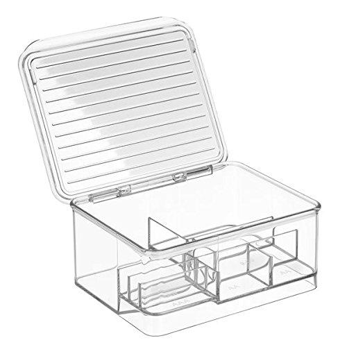 iDesign 63910EU Linus Stapelbare Batterie-Aufbewahrungsbox für AA, AAA und andere Batterien, 14,2 x 17 x 7,6 cm, clear, plastik