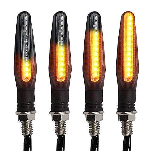 OFNMY 4pcs Intermitentes para Moto - 12 LEDs Indicador de Señal de Giro 12V (10.5 * 2cm)