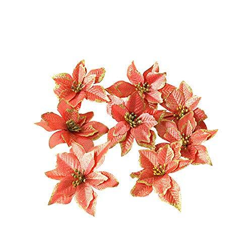 Nubstoer 8Pcs Artificial Poinsettia Glitter Christmas Flowers for Xmas Wedding Orange