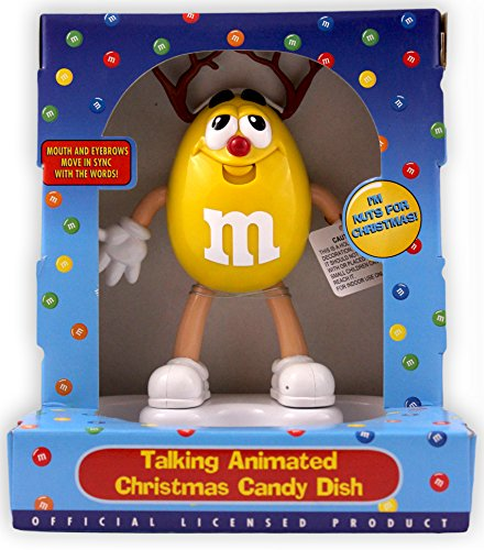 M&M's Talking Animated Christmas Candy Dish Yellow