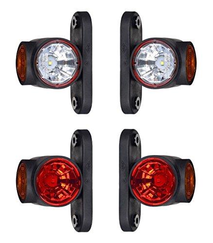 4 x LED Gummi Begrenzungsleuchte Seitenleuchte 12V 24V mit E-Prüfzeichen Positionsleuchte Auto LKW PKW KFZ Lampe Leuchte Licht Weiß Rot Orange