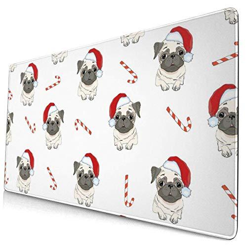 Hundebonbon in Einer Weihnachtsmütze Multifunktionales Büro-Schreibtisch-Pad, Gaming großes Tastatur-Maus-Pad mit genähten Kanten