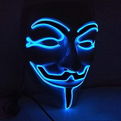 Upolymall Glowing Mask LED Party Mask V Word Vendetta Cosplay Creative Face,Halloween Prom Atmosphere Mask,EL Cold Light Ghost Dance Mask (Blue)