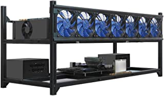 Kingwin Bitcoin Miner Rig Case W/ 6, or 8 GPU Mining Stackable Frame - Expert Crypto Mining Rack W/Placement for Motherboard for Mining - Air Convection to Improve GPU Cryptocurrency (8 GPU)